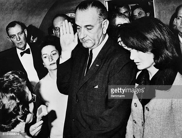 Lyndon B Johnson during his inauguration immediately after John F Kennedy's assassination with Jackie Kennedy by his side