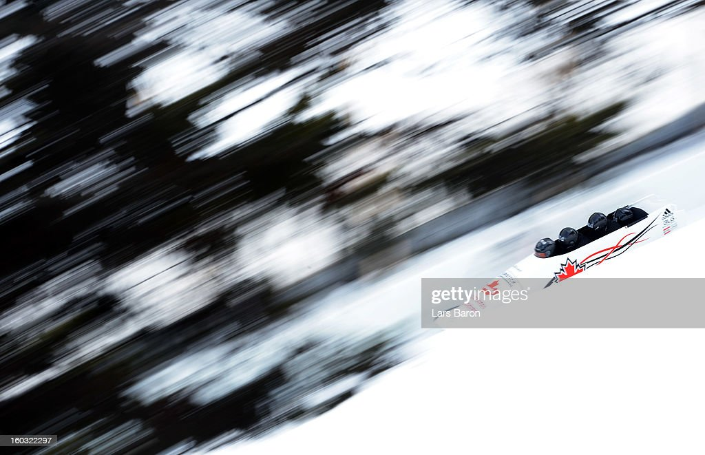 Lyndon Rush, Jesse Lumsden, Lascelles Brown and Neville Wright of Canada compete during a training session at Olympia Bob Run on January 29, 2013 in St Moritz, Switzerland.