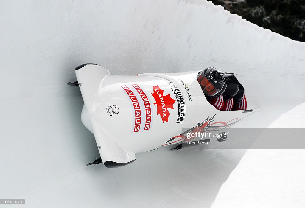Lyndon Rush, Jesse Lumsden, Lascelles Brown and Neville Wright of Canada compete during the Four Men Bobsleigh heat one of the IBSF Bob & Skeleton World Championship at Olympia Bob Run on February 2, 2013 in St Moritz, Switzerland.