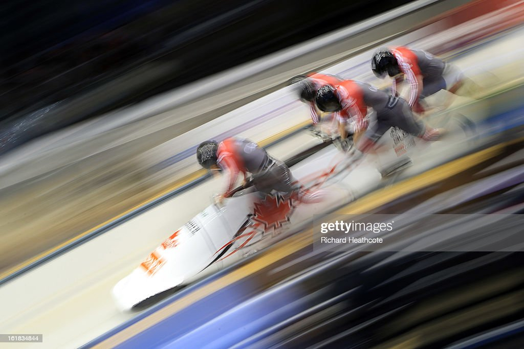 <a gi-track='captionPersonalityLinkClicked' href=/galleries/search?phrase=Lyndon+Rush&family=editorial&specificpeople=5632034 ng-click='$event.stopPropagation()'>Lyndon Rush</a> of Canada launches his sled down the track during the 4 man Bobsleigh Viessman FIBT Bob & Skeleton World Cup at the Sanki Sliding Center in Krasnya Polyana on February 17, 2013 in Sochi, Russia. Sochi is preparing for the 2014 Winter Olympics with test events across the venues.