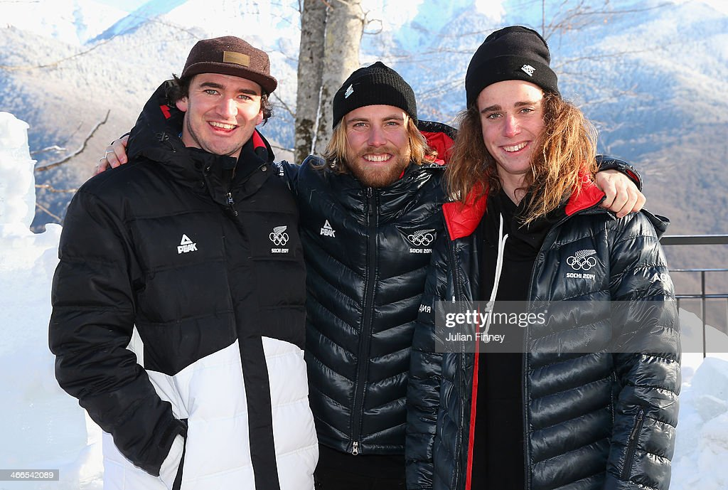 <a gi-track='captionPersonalityLinkClicked' href=/galleries/search?phrase=Lyndon+Sheehan&family=editorial&specificpeople=6217383 ng-click='$event.stopPropagation()'>Lyndon Sheehan</a> with Josiah Wells and Beau-James Wells (R) of New Zealand pose for a picture at the Athletes Village ahead of the Sochi 2014 Winter Olympics on February 2, 2014 in Rosa Khutor, Sochi.