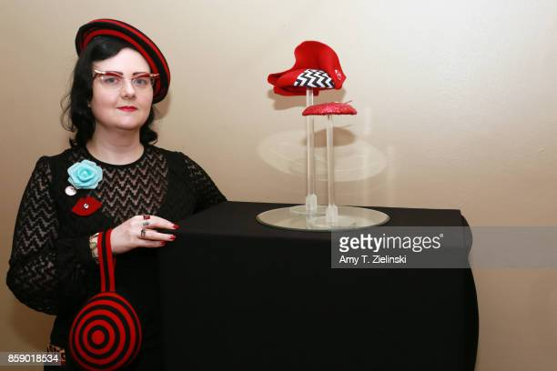 Lyndsay Cooper of Pyewacket Millinery poses with her work on display of hats created inspired by 'Twin Peaks' at the Twin Peaks UK Festival 2017 at...