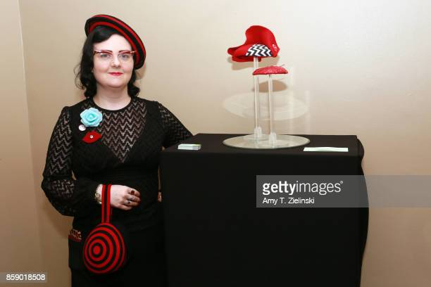 Lyndsay Cooper of Pyewacket Millinery poses work on display of hats created inspired by 'Twin Peaks' at the Twin Peaks UK Festival 2017 at Hornsey...