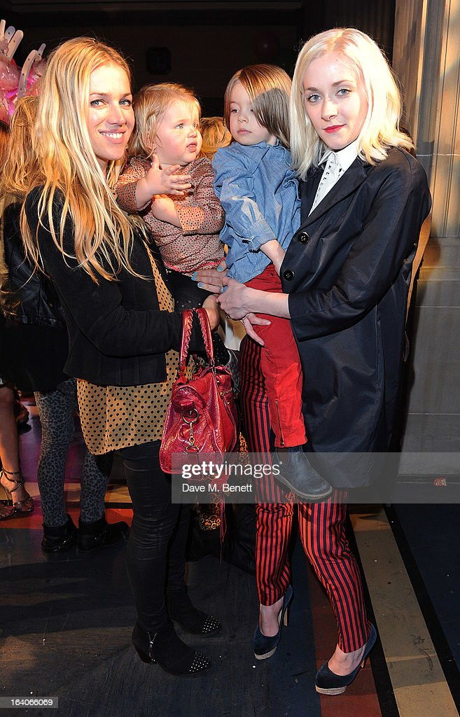 Lyndsay Lilly Keys and <a gi-track='captionPersonalityLinkClicked' href=/galleries/search?phrase=Portia+Freeman&family=editorial&specificpeople=2348960 ng-click='$event.stopPropagation()'>Portia Freeman</a> (R) arrives for the Global Kids Fashion Week AW13 media and VIP show at The Freemason's Hall on March 19, 2013 in London, England.
