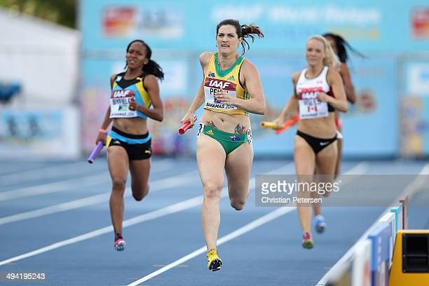 Lyndsay Pekin of Australia competes in the Women's 4x400 metres relay B final during day two of the IAAF World Relays at the Thomas Robinson Stadium...