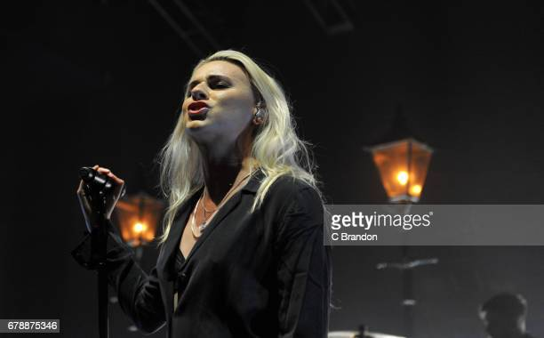 Lyndsey Gunnulfsen of PVRIS performs on stage at the O2 Shepherd's Bush Empire on May 4 2017 in London England