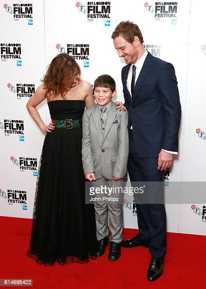 Lyndsey Marshal Georgie Smith and Michael Fassbender attend 'Trespass Against Us' screening during the 60th BFI London Film Festival at Haymarket...