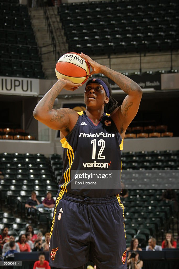 Lynetta Kizer #12 of Indiana Fever shoots a free throw against the Dallas Wings during a preseason game on May 1, 2016 at Bankers Life Fieldhouse in Indianapolis, Indiana.