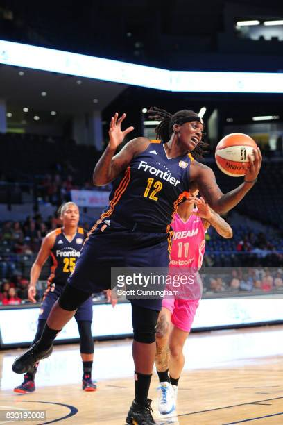 Lynetta Kizer of the Connecticut Sun grabs the rebound against the Atlanta Dream during at WNBA game on August 15 2017 at Hank McCamish Pavilion in...