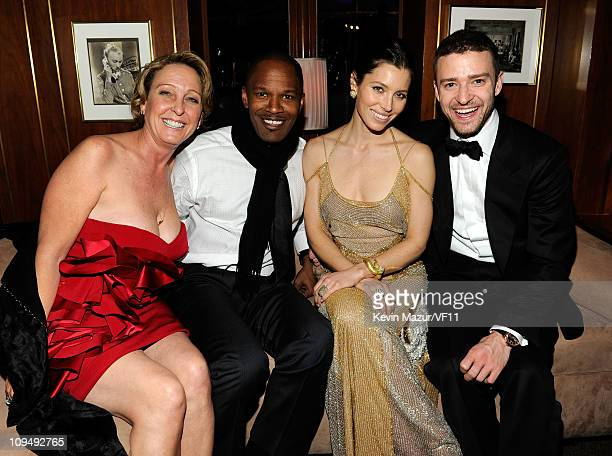 Lynn Harless Jamie Foxx Jessica Biel and Justin Timberlake attend the 2011 Vanity Fair Oscar Party Hosted by Graydon Carter at the Sunset Tower Hotel...
