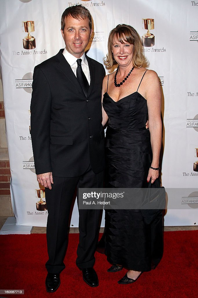 Lynn Hobson and guest arrive at the 40th Annual Annie Awards held at Royce Hall on the UCLA Campus on February 2, 2013 in Westwood, California.