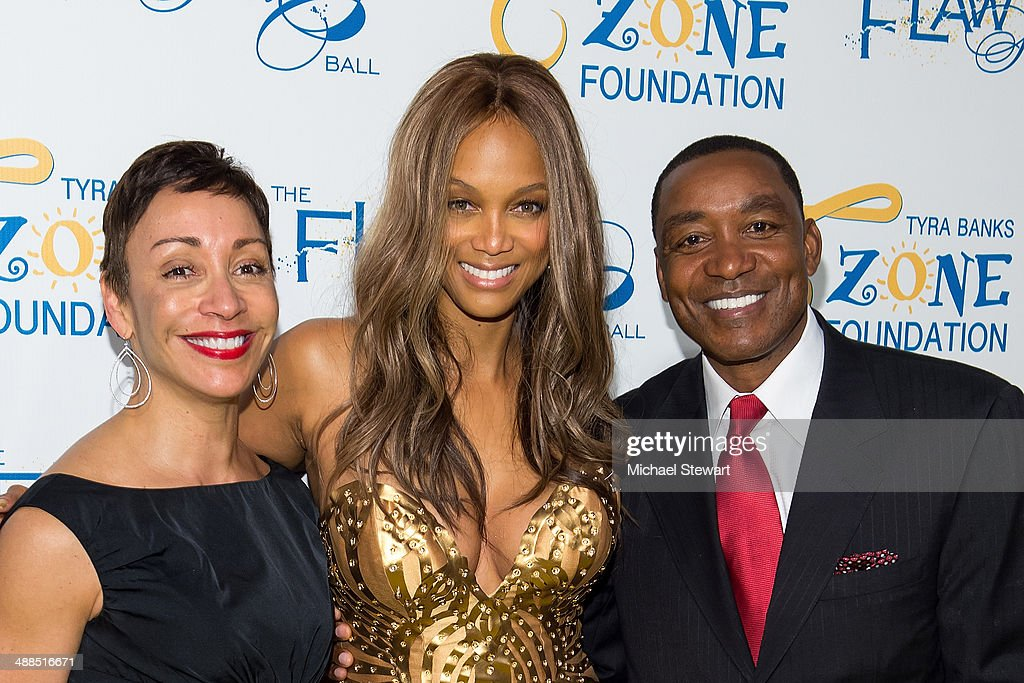 Lynn Kendall, model <a gi-track='captionPersonalityLinkClicked' href=/galleries/search?phrase=Tyra+Banks&family=editorial&specificpeople=202216 ng-click='$event.stopPropagation()'>Tyra Banks</a> and former NBA player/coach Isiah Thomas attend <a gi-track='captionPersonalityLinkClicked' href=/galleries/search?phrase=Tyra+Banks&family=editorial&specificpeople=202216 ng-click='$event.stopPropagation()'>Tyra Banks</a>' Flawsome Ball 2014 at Cipriani Wall Street on May 6, 2014 in New York City.