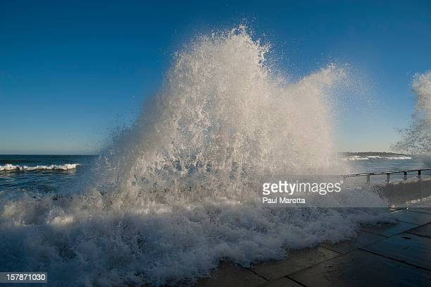 Lynn MA Seawall Waves Crashing Storm Surge