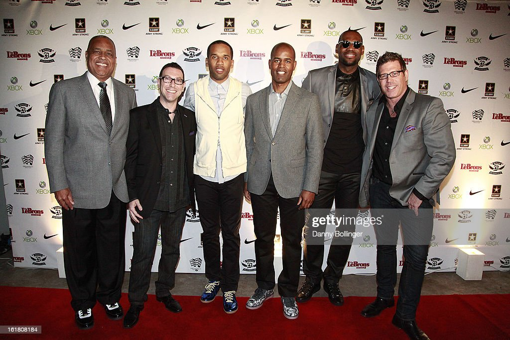 Lynn Merritt, Dan Goodman, Maverick Carter, Ted Curvy, Lebron James and Bill Masterson attend the LeBron James, Believe Entertainment Group And Spring Hill Prods. All-Star Celebration To Kick Off Season Two Of 'The LeBrons' at Hudson Lounge on February 15, 2013 in Houston, Texas.