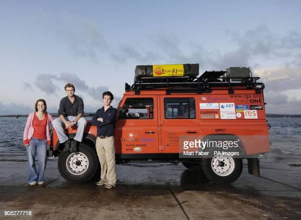 Lynn Morris Tim Bromfield and Will Lorimer of Atlantic Rising winners of the 2009 RGSIBG 'Go Beyond' Bursary stand next to their Land Rover Defender...