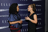 Lynn Whitfield and Melissa Harris Perry attend a reception hosted by ELLE EditorinChief Robbie Myers and Center for American Progress President Neera...