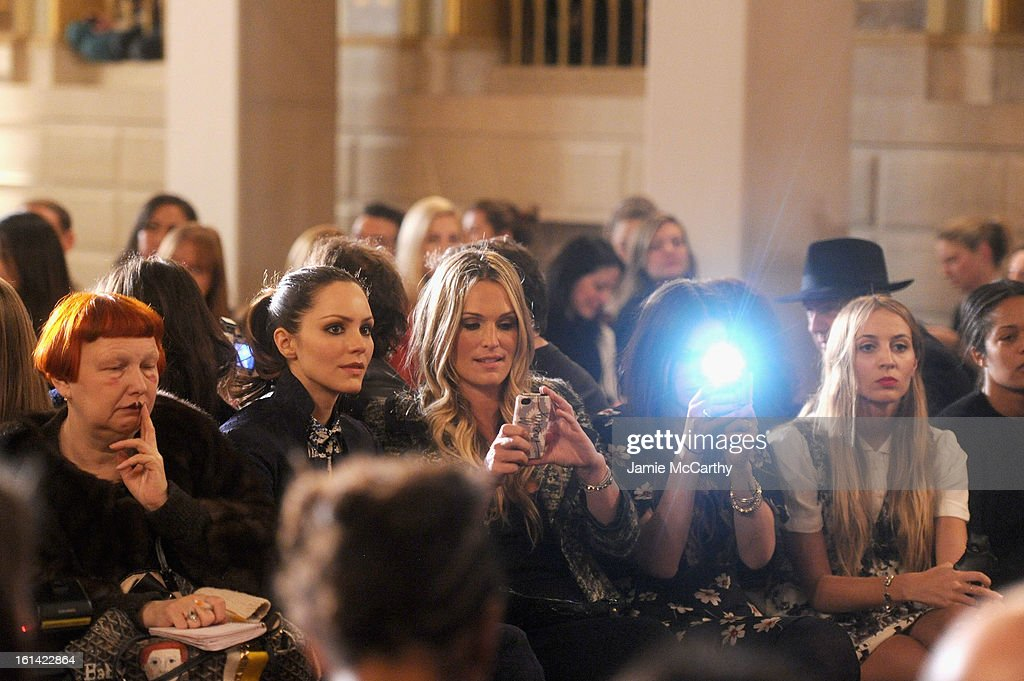 Lynn Yaeger, <a gi-track='captionPersonalityLinkClicked' href=/galleries/search?phrase=Katharine+McPhee&family=editorial&specificpeople=581492 ng-click='$event.stopPropagation()'>Katharine McPhee</a> and <a gi-track='captionPersonalityLinkClicked' href=/galleries/search?phrase=Molly+Sims&family=editorial&specificpeople=202547 ng-click='$event.stopPropagation()'>Molly Sims</a> attend the Zac Posen Fall 2013 fashion show during Mercedes-Benz Fashion Week on February 10, 2013 in New York City.