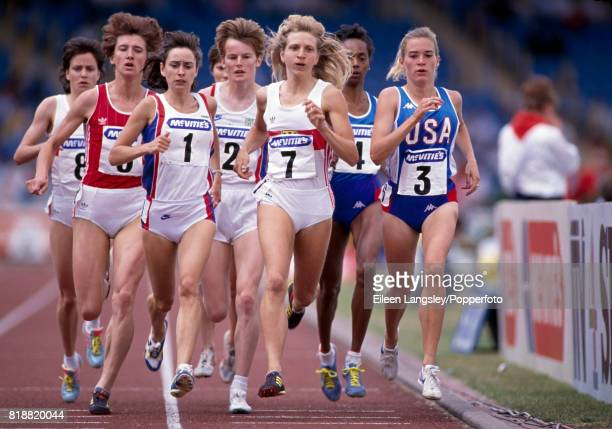Lynne McIntye Astrid Bartels Yvonne Murray and Sabine Kunkel of the USA running in a women's 1500 metres event circa 1989