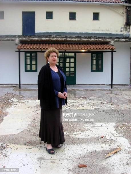 Lynne Morgan the mother of an 11yearold girl who drowned in a boating accident while on holiday stands outside Court of Misdemeanours in Lefkada...