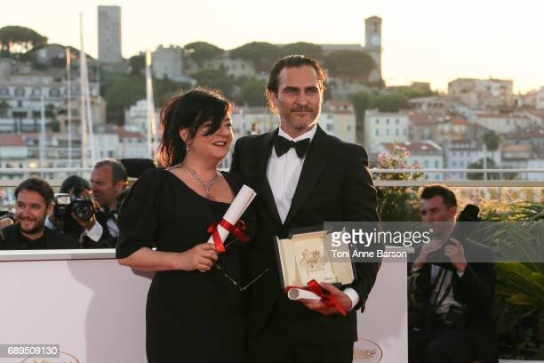 Lynne Ramsey winner of the award for Best Screenplay and actor Joaquin Phoenix winner of the award for Best Actor for 'You Were Never Really Here'...