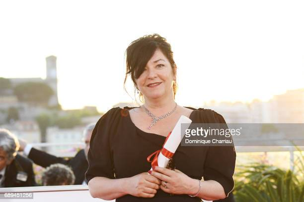 Lynne Ramsey winner of the award for Best Screenplay for the movie 'You Were Never Really Here' attends the Palme D'Or winner photocall during the...