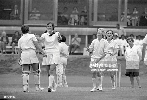 Lynne Read and Ros Heggs celebrate the dismissal of Jasmine Sammy also in the photo is Sue Goatman the Young England captain Women's World Cup Young...