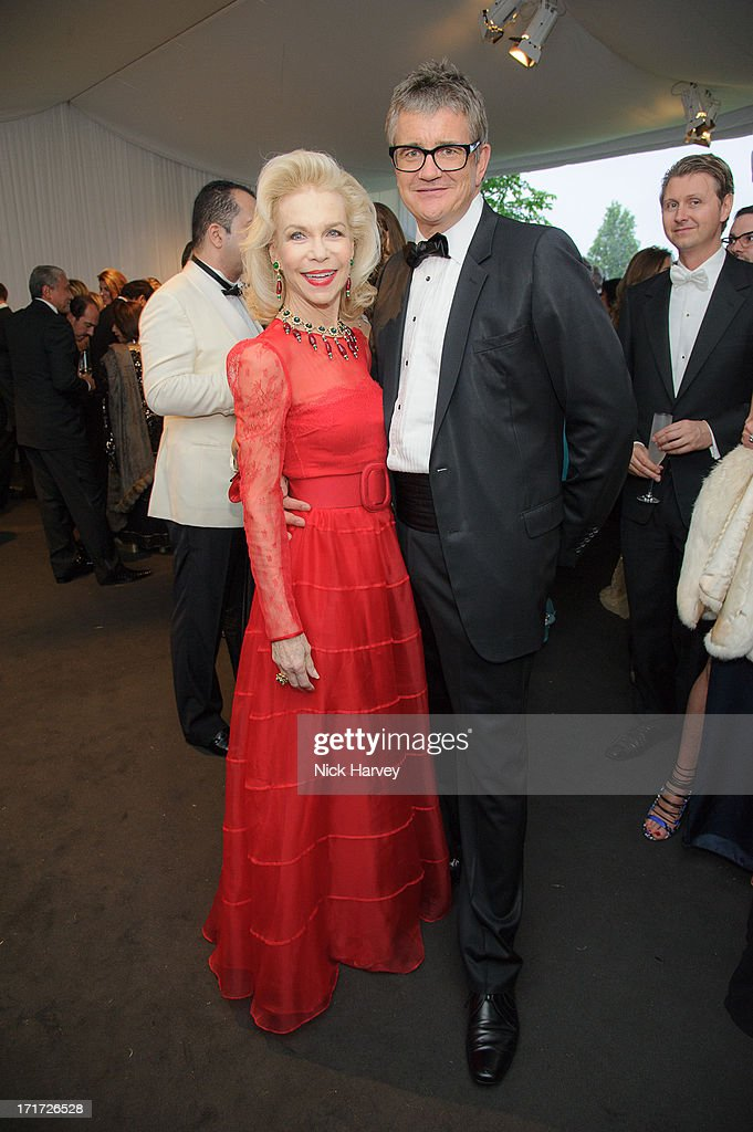 Lynne Wyatt and Jay Jopling attend the 15th Annual White Tie and Tiara Ball to Benefit Elton John AIDS Foundation in Association with Chopard at Woodside on June 27, 2013 in Windsor, England. No sales to online/digital media worldwide until the 14th of July. No sales before July 14th, 2013 in UK, Spain, Switzerland, Mexico, Dubai, Russia, Serbia, Bulgaria, Turkey, Argentina, Chile, Peru, Ecuador, Colombia, Venezuela, Puerto Rico, Dominican Republic, Greece, Canada, Thailand, Indonesia, Morocco, Malaysia, India, Pakistan, Nigeria. All pictures are for editorial use only and mention of 'Chopard' and 'The Elton John Aids Foundation' are compulsory. No sales ever to Ok, Now, Closer, Reveal, Heat, Look or Grazia magazines in the United Kingdom. No sales ever to any jewellers or watchmakers other than Chopard.