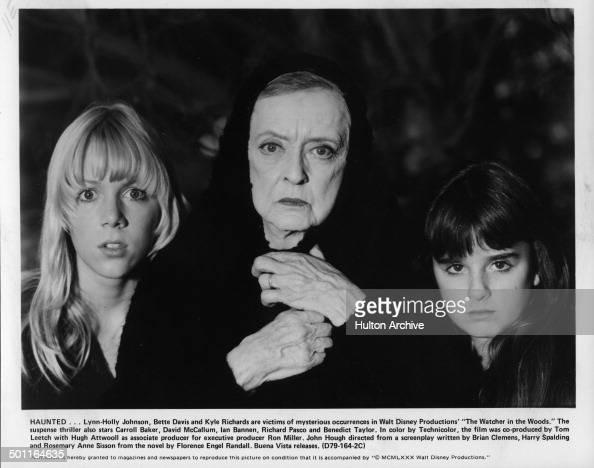 LynnHolly Johnson Bette Davis and Kyle Richards look scared in a scene for the Walt Disney movie 'The Watcher in the Woods' circa 1979