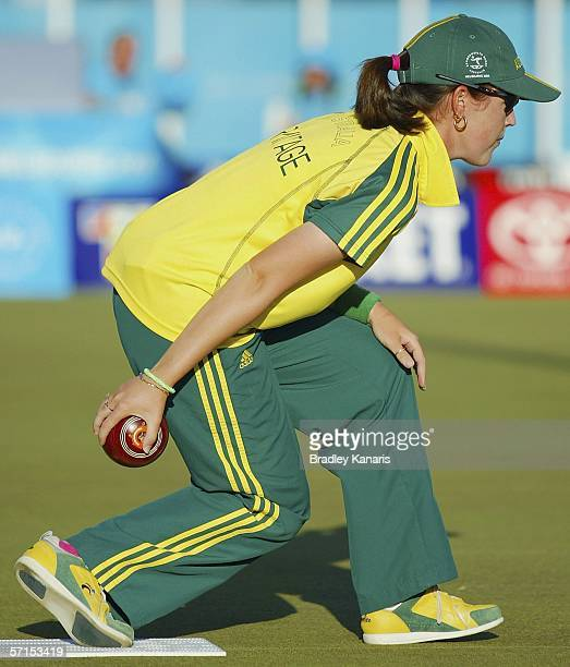Lynsey Armitage of Australia in action during the Women's Pairs gold medal lawn bowls match at the State Lawn Bowls Centre during day six of the...