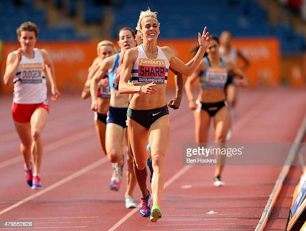 Lynsey Sharp of Edingburgh AC celebrates as she crosses the finsh line to win the wonem's 800m final on day three of the Sainsbury's British...