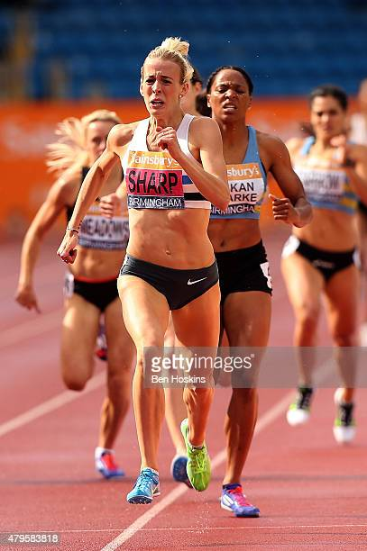 Lynsey Sharp of Edingburgh AC competes in the wonem's 800m final on day three of the Sainsbury's British Championships at Birmingham Alexander...