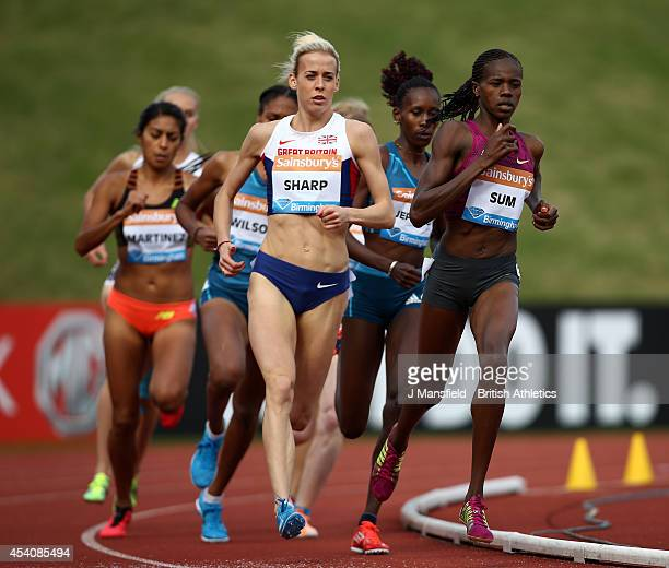 Lynsey Sharp of Great Britain comes round Eunice Jepkoech Sum of Kenya to win the Women's 800m during the Sainsbury's Birmingham Grand Prix Diamond...
