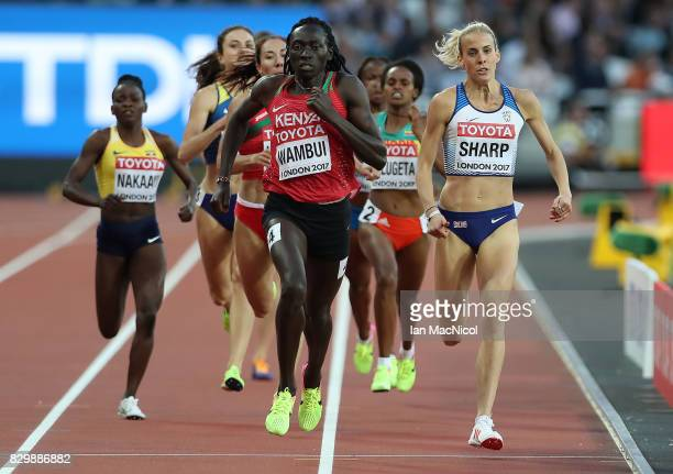 Lynsey Sharp of Great Britain competes in the Women's 800m heats during day seven of the 16th IAAF World Athletics Championships London 2017 at The...