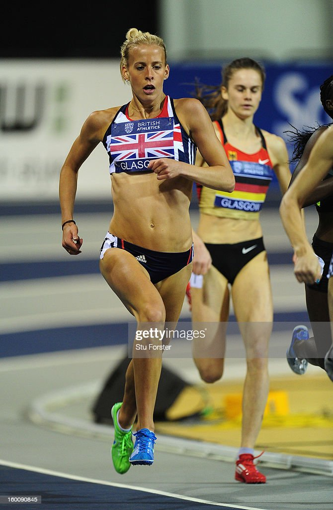 Lynsey Sharp of Great Britain in action during the Womens 800 metres during the British Athletics International Match at the Emirates Arena on January 26, 2013 in Glasgow, Scotland.