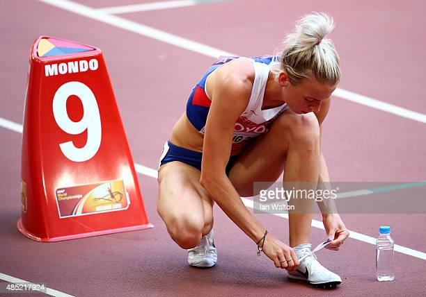 Lynsey Sharp of Great Britain preapres to compete in the Women's 800 metres heats during day five of the 15th IAAF World Athletics Championships...