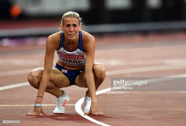 Lynsey Sharp of Great Britain reacts after being disqualified for clashing with Charlene Lipsey in the Women's 800 metres semi finals during day...
