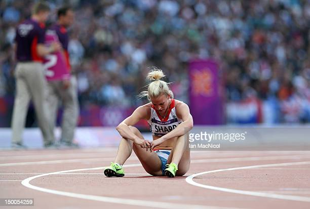 Lynsey Sharp of Great Britain reacts after competing in the Women's 800m Semifinals on Day 13 of the London 2012 Olympic Games at Olympic Stadium on...