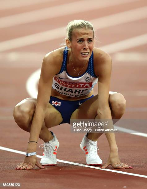 Lynsey Sharp of Great Britain reacts after competing the Women's 800 metres semi finals during day eight of the 16th IAAF World Athletics...