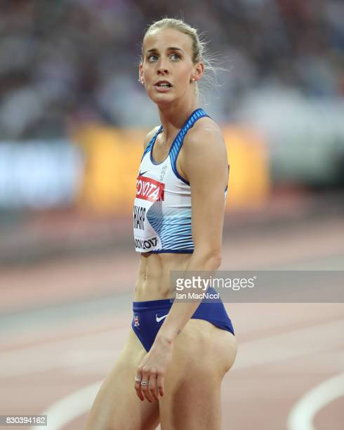 Lynsey Sharp of Great Britain reacts as she competes in the Women's 800m semi final during day eight of the 16th IAAF World Athletics Championships...