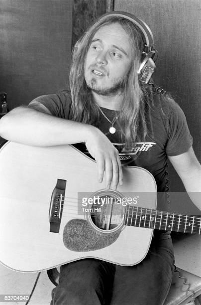 Lynyrd Skynyrd member Ronnie Van Zant works on 'Street Survivors' at Studio I on August 12 1977 in DoravilleAtlanta Georgia