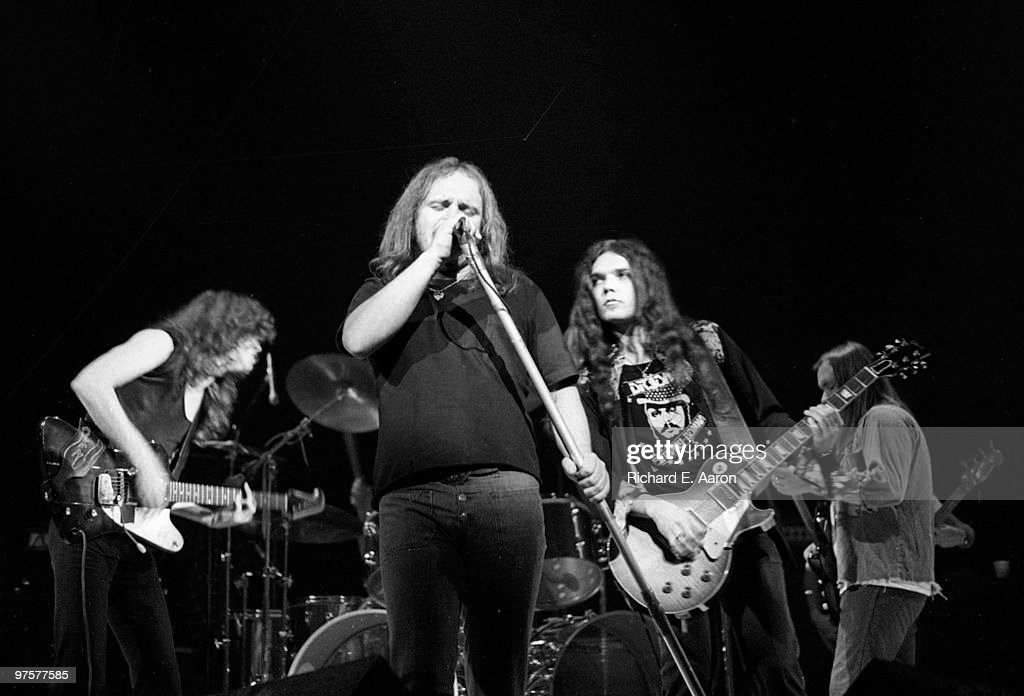 Lynyrd Skynyrd perform live on stage at the Beacon Theatre in New York on April 10 1976 LR Allen Collins Ronnie Van Zant Gary Rossington
