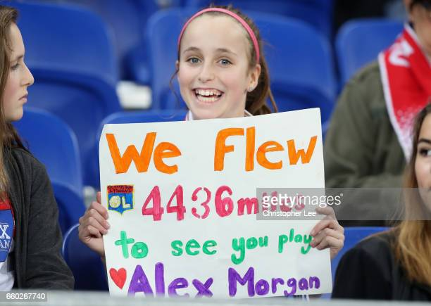 Lyon and Alex Morgan fan during the Women's Champions League match between Lyon and Wolfsburg at Stade de Lyon on March 29 2017 in Lyon France