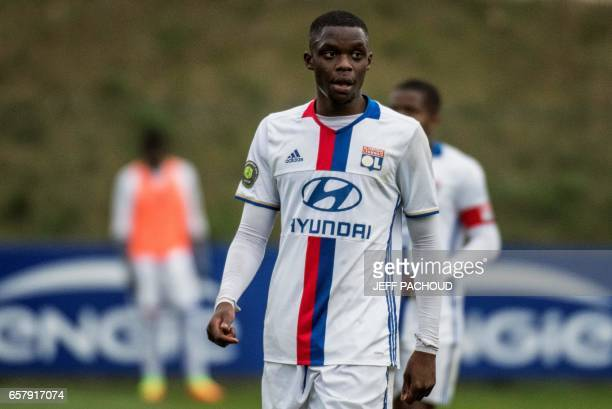 Lyon B's Luxembourgian midfielder Christopher Martins Pereira plays during a CFA football match Lyon vs Raon l'Etape on March 18 2017 at the Parc...