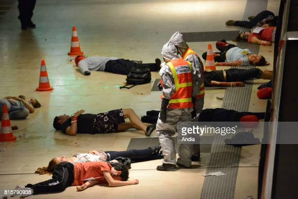 CBRN training largescale simulated terror attack based on the 2014 attack in Madrid and the one in Tokyo in 1995 Highest threat level chemical attack...
