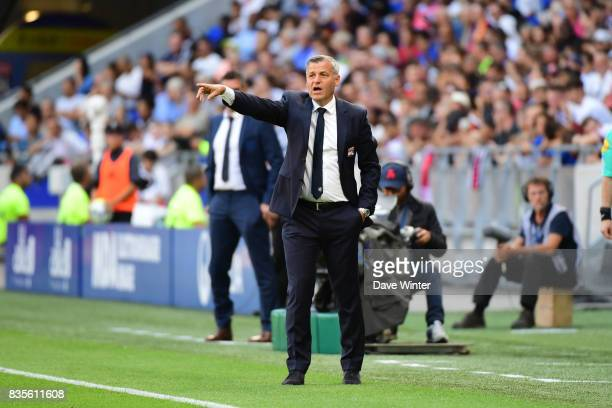 Lyon coach Bruno Genesio during the Ligue 1 match between Olympique Lyonnais and FC Girondins de Bordeaux at Groupama Stadium on August 19 2017 in...