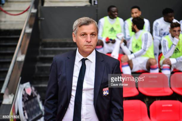 Lyon coach Bruno Genesio during the Ligue 1 match between Stade Rennais and Olympique Lyonnais at Roazhon Park on August 11 2017 in Rennes