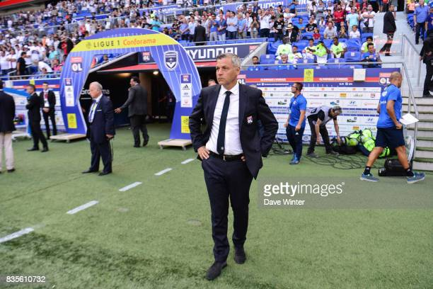 Lyon coach Bruno Genesio the Ligue 1 match between Olympique Lyonnais and FC Girondins de Bordeaux at Groupama Stadium on August 19 2017 in Lyon