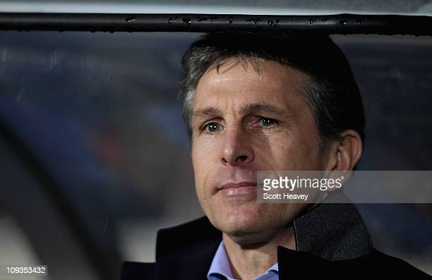 Lyon coach Claude Puel during the Champions League match between Lyon and Real Madrid at Stade Gerland on February 22 2011 in Lyon France