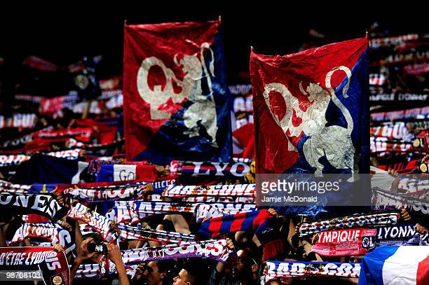 Lyon Fans cheer on their team during the UEFA Champions League semi final second leg match between Olympique Lyonnais and Bayern Muenchen at the...