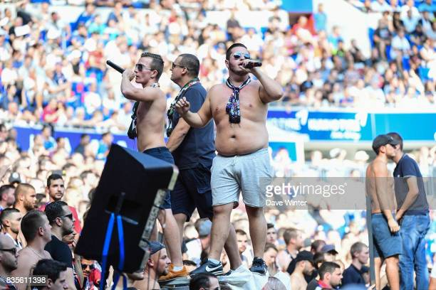 Lyon fans during the Ligue 1 match between Olympique Lyonnais and FC Girondins de Bordeaux at Groupama Stadium on August 19 2017 in Lyon